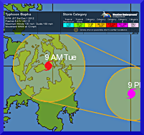 Super Typhoon BOPHA with 275kph winds to hit Philippines..  update (4/4)