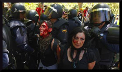 fascist repression in Spain. miners demo