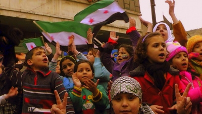 Syrian children. Before imminent massive US bombing