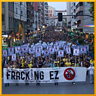 An anti.fracking march in Spain, where no wells have yet been sunk.
