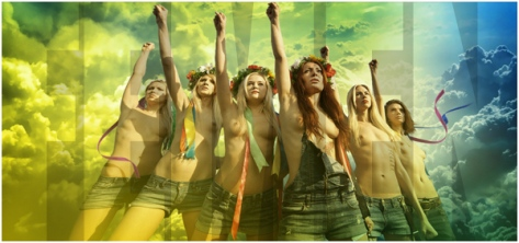 really a photo from the radical direct action group Femen, but they look very eco-feminist!