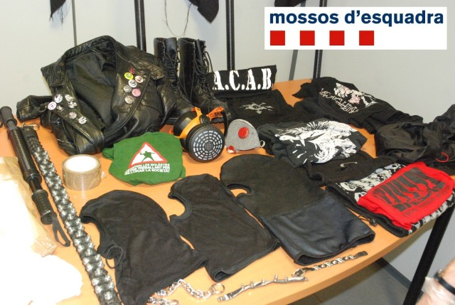 Police photo of ''terrorist material'' seized form Kolectivo Bandera Negra