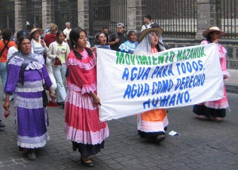 Women protesting for their right to water - cropped