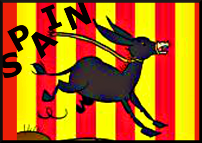 Bumper stickers in Barcelona celebrate the Catalan Donkey instead of the Spanish Bull