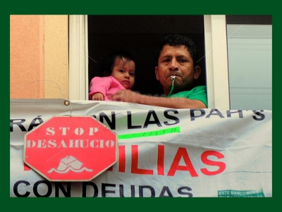 father and child await eviction for mortgage default