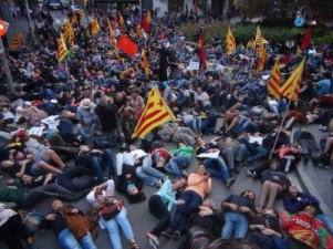 13/10/2013 Anti Beatifications protesters lie down in solidarity with thousands of anti fascists massacred with Church connivance