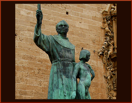 Juniper Serra, genocidal priest who abused his power over conquered Indians, trappìng them in ''Missions'' which even the Spanish Governor said were worse than slave camps
