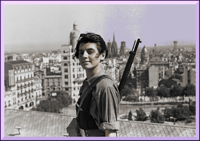 Marina Ginestá on the roof of the Columbus Hotel, Barcelona, days after the revolution seized the city.