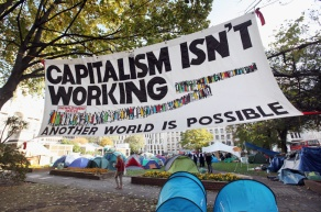Members Of The Occupy London Protest Set Up Camp In Finsbury Square