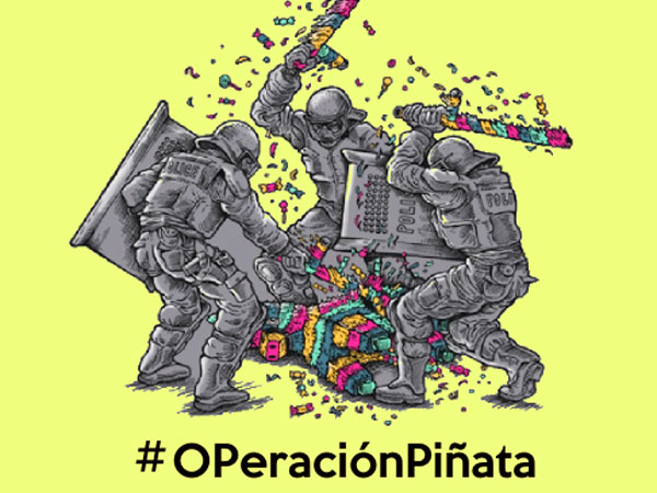 'piñata' is a multi wrapped parcel  full of goodies that's hung up at kids birthdays and whacked by blindfolded children till all the treasures fly out.