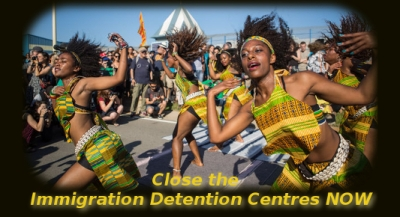 dancers at the March against Immigrant Prisons