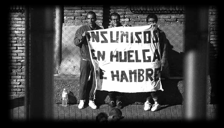 total-refusers of compulsory military service (insumisos) on hunger strike in prison. 1988?
