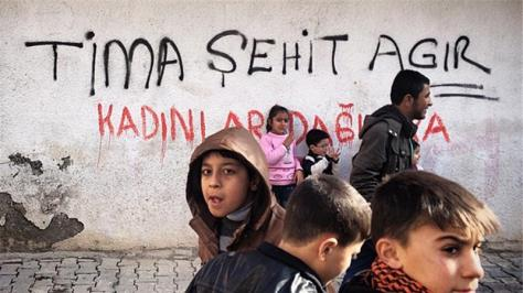Children in Cizre at a protest over the death of a Kurdish boy killed in clashes