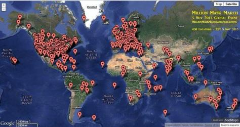 map shows events last year in 2014 Million Mask Marches
