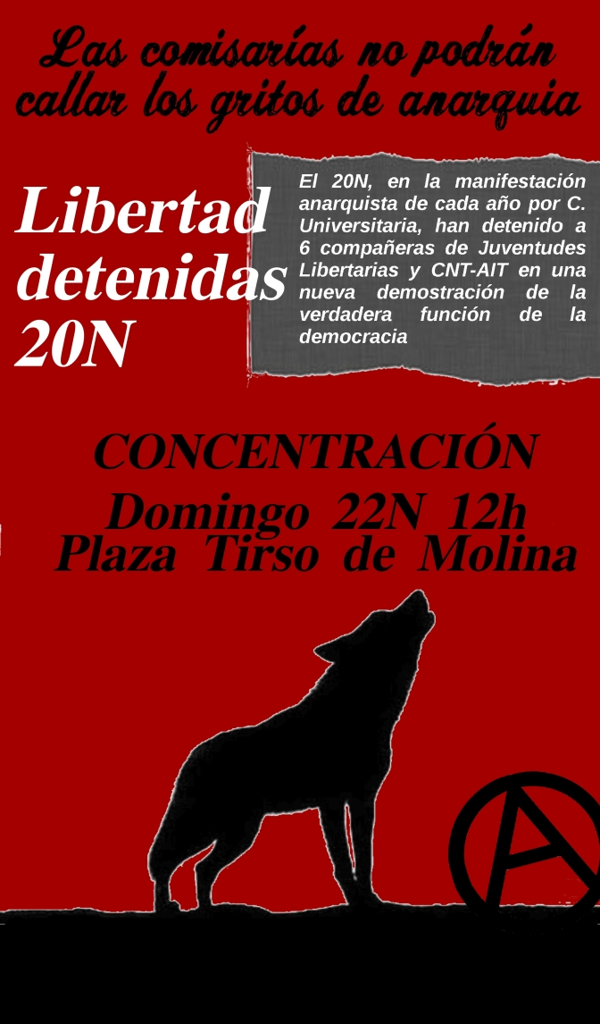 URGENTE: CONCENTRACIÓN 22N A LAS 12H EN TIRSO DE MOLINA