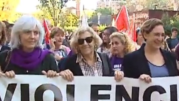 The newly elcted feminist mayors of Madrid and Barcelona at the demo.