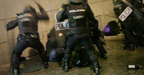 Madrid police politely arresting a member of Straight Edge last March