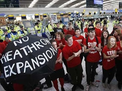 file photo of protests against expansion of Heathrow Airport in London_AFP