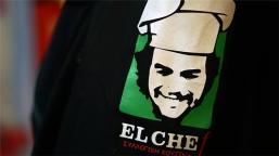 The anarchist food collective EL CHEf uses the image of the infamous Che Guevara as a symbol of their project [Sorin Furcoi/Al Jazeera]