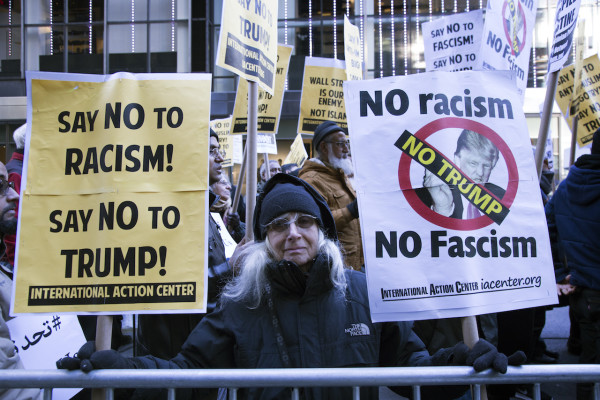 Anti-Donald Trump protest is held at Trump Tower in 5th Avenue in New York, as Republican presidential front-runner Donald Trump has been calling for barring all Muslims from entering the United State. Dec 20, 2015, New York.