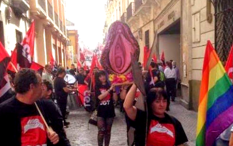 a rebel pussy demo by the CGT anarchists in support of women being prosecuted for one of the earlier rebel pussy parades