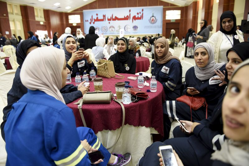 Female oil sector employees sit in a hall on the first day of an official strike called by the Oil and Petrochemical Industries Workers Union over public sector pay reforms, in Ahmadi, Kuwait April 17, 2016. — Reuters pic - See more at: http://www.themalaymailonline.com/money/article/kuwait-oil-workers-call-off-strike-return-to-work#sthash.dK3rpejC.dpuf