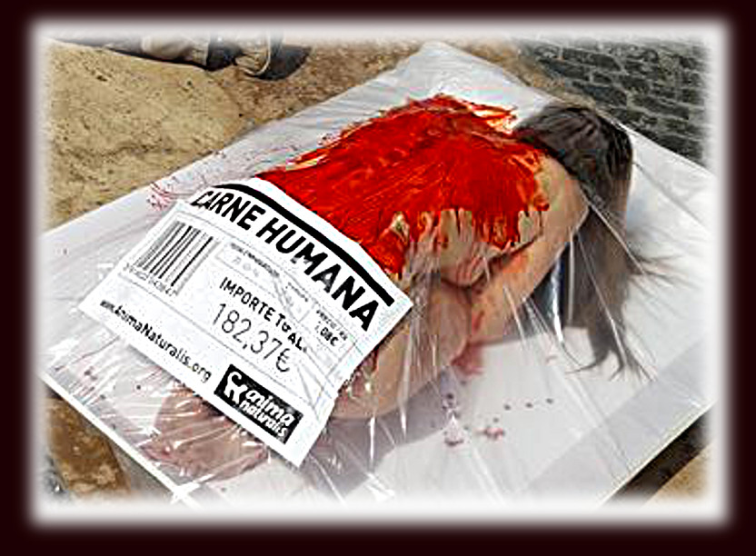 human meat.. vegan protest