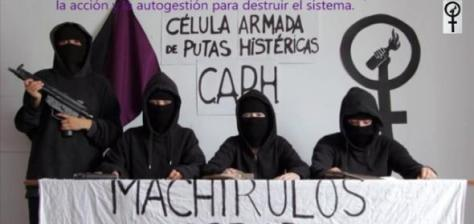 The 'Armed Cell of Hysterical Prostitutes' spoof warning montage during pro choice campaign in Sevilla.