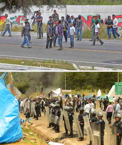 Some 200 individuals violently evicted the occupation that CNTE teachers maintained on the San Cristóbal de Las Casas-Tuxtla Gutiérrez toll road, along with parents and members of civil groups that support the teachers. Photo: Colectivo Tragameluz and Elio Henríquez