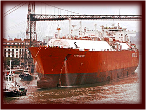 LLeno de gas del Fracking de EEUU el buque Sestao Knutsen llego el 22 Juliol 2016 al terminal Mugardos ubicado en el Puerto de Ferrol en Galicia operado y propiedad de la empresa Reganosa.