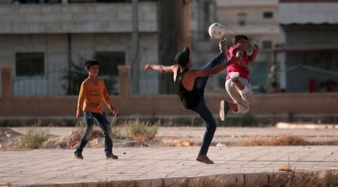 Boys celebrated ISIS liberation playing football