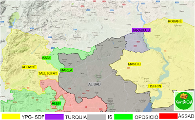 29th Aug 16. a new colour, Turkey is on the map, with Erdogan screaming for Kurdish blood and declaring the Kurdish led multi ethnic SDF to be PKK terrorists which 'must be eliminated' . This would mean the Turkish armies and pathetic proxies taking over all the light yellow areas of the Rojava Democratic Federalism Revolution which stretch hundreds of kilometers more to the east of this map.
