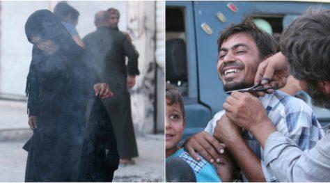 Manbij survivors cut off their beards after ISIS defeat