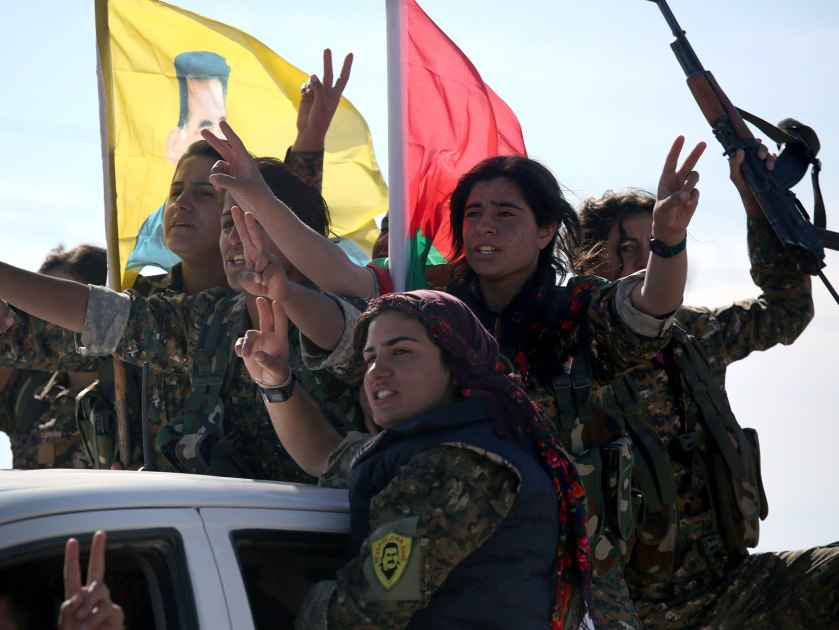 The Yazidi Womens Brigade join the SDF as they close in on the Turkish supported ISIS in the border town of Jarablus