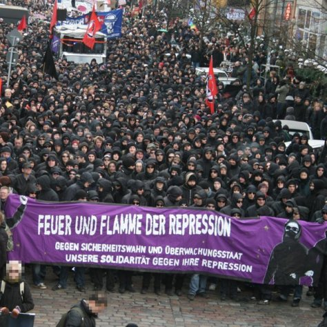 Hamburg Black Bloc.. In Germany the black bloc is essential with large police resources dedicated to identifying and pursuing anyone who protests.