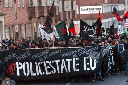 Black Bloc anarchists successfully demonstrate their message and avoid identification.