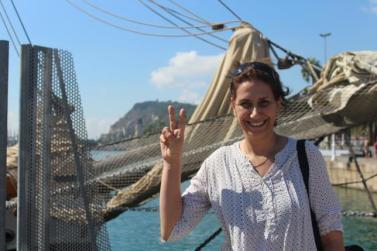 Jaldía Abubakra, una de las tripulantes de la Flotilla de Mujeres Rumbo a Gaza. / CLARA ASÍN