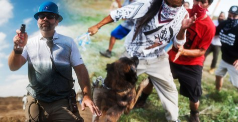 The security guards used dogs and pepper spray as the police looked on.
