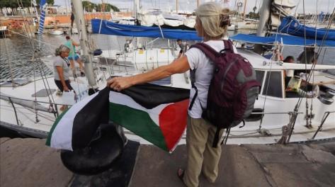 BARCELONA 14 09 2016 Internacional Despedida de la flotilla solidaria de mujeres con Gaza FOTO de JULIO CARBO