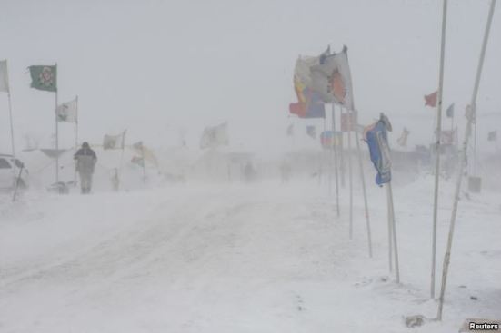 """The Oceti Sakowin camp is seen as """"water protectors"""" continue to demonstrate against plans to pass the Dakota Access pipeline near the Standing Rock Sioux Reservation, near Cannon Ball, N.D., Dec. 6, 2016."""