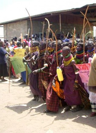 Local villagers protest construction of the dam. Photo courtesyInternational Rivers