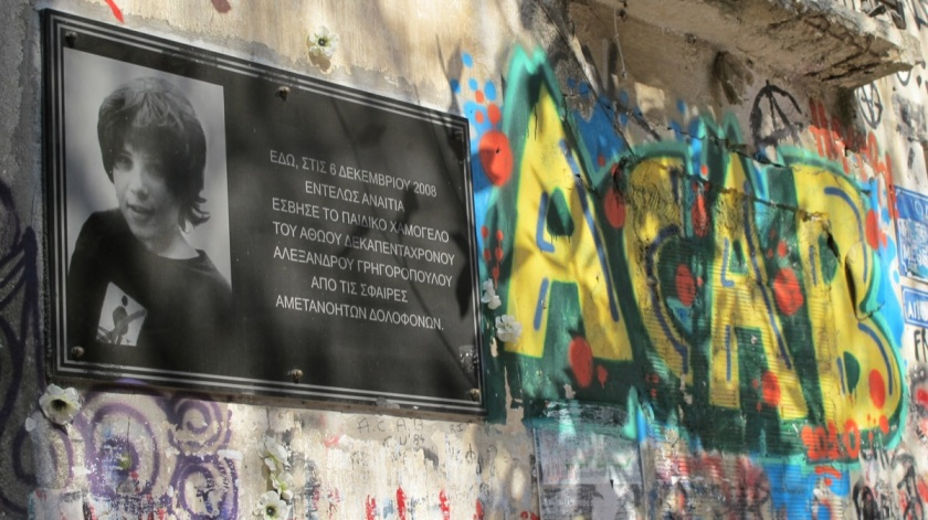 plaque commemorates activist killed by the Greek police