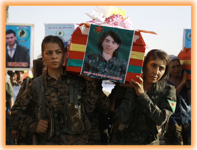 Will Trump betray the only progressive future for Syria? ..Syrian-Kurdish women carry the coffins of female fighters in Syria's northeastern city of Qamishli on July 21, 2016 during the funeral of sixteen fighters killed battling the Islamic State (IS) group in Manbij. 150 SDF volunteers died liberating the town, including six from the International Brigade.(William Savage, from the US was killed rescuing civilians). Now Turkey is pressurizing Trump to betray the SDF, destroy the democratic revolution, and hand Manbij to Turkish controlled jihadi FSA mercenaries.