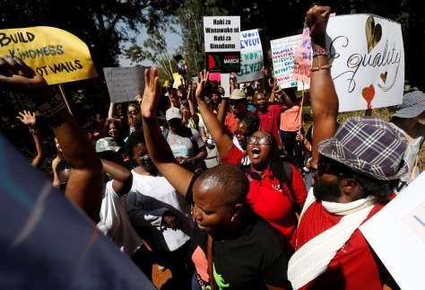 Demonstrators protest against U.S. President Donald Trump during the Women's March inside Karura forest in Kenya's capital Nairobi, January 21, 2017. REUTERS/Thomas Mukoya NYTCREDIT: Thomas Mukoya/Reuters