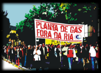 Noise Demo as new LNG Tanker Docks in illegal Galicia plant where 1st Frack Gas arrived