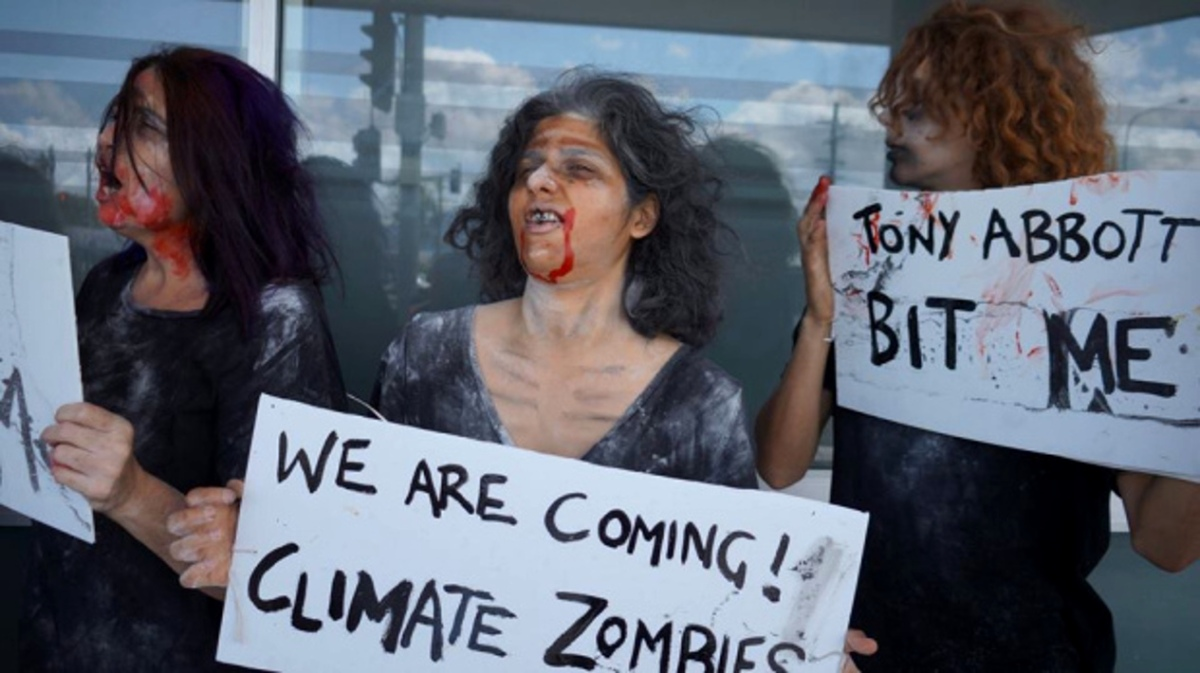 Halloween:  Zombies attack Climate Criminals in Australia