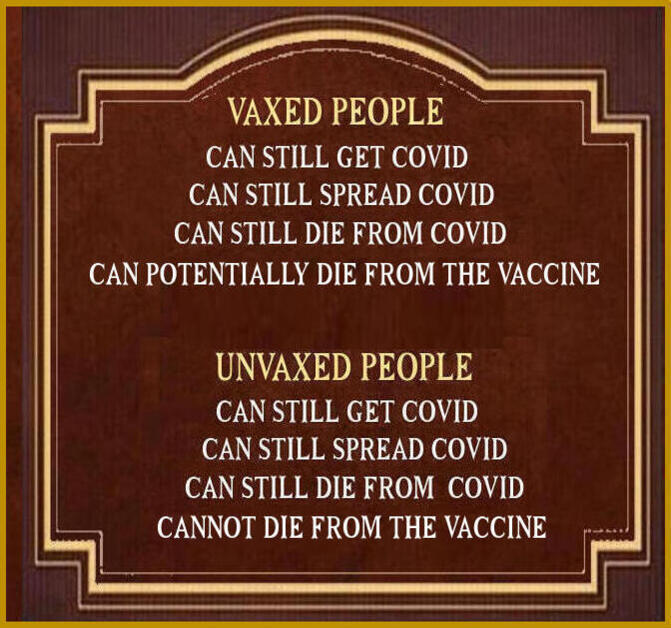 18 great Reasons I Won't be Getting the Covid Shots (fact checked) ++ 7 MORE Unvaxed-vs.-vaxed-meme